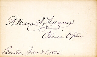 Autographs: WILLIAM T. OLIVER OPTIC ADAMS - SIGNATURE(S) 01/25/1884