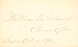WILLIAM T. OLIVER OPTIC ADAMS - AUTOGRAPH 10/04/1890