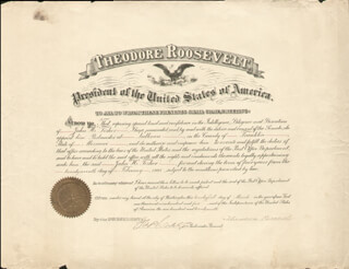 Autographs: PRESIDENT THEODORE ROOSEVELT - CIVIL APPOINTMENT SIGNED 03/21/1905 CO-SIGNED BY: GEORGE B. CORTELYOU