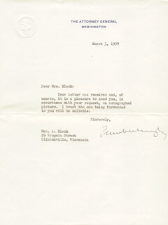 Autographs: ASSOCIATE JUSTICE FRANK MURPHY - TYPED LETTER SIGNED 03/03/1939