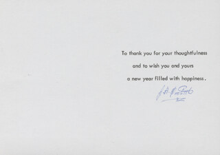 Autographs: BRIGADIER GENERAL JAMES H. JIMMY DOOLITTLE - NEW YEAR'S CARD SIGNED