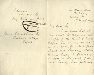 CYRUS W. FIELD - MANUSCRIPT LETTER SIGNED 03/05/1872
