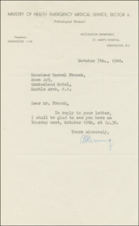 Autographs: ALEXANDER FLEMING - TYPED LETTER SIGNED 10/07/1944
