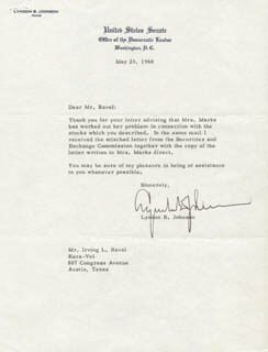 PRESIDENT LYNDON B. JOHNSON - TYPED LETTER SIGNED 05/25/1960
