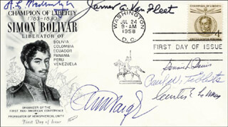 Autographs: ENOLA GAY CREW (PAUL W. TIBBETS) - FIRST DAY COVER SIGNED CO-SIGNED BY: GENERAL ALBERT C. WEDEMEYER, GENERAL JAMES A. VAN FLEET, GENERAL CURTIS E. LEMAY