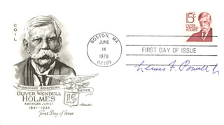 ASSOCIATE JUSTICE LEWIS F. POWELL JR. - FIRST DAY COVER SIGNED
