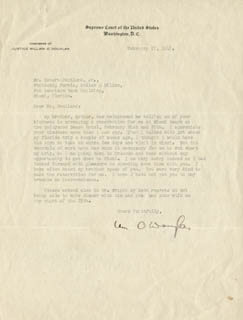 Autographs: ASSOCIATE JUSTICE WILLIAM O. DOUGLAS - TYPED LETTER SIGNED 02/22/1947