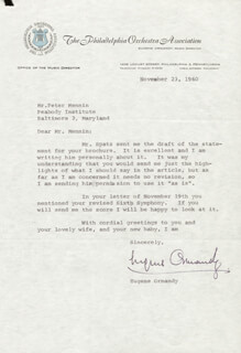 EUGENE ORMANDY - TYPED LETTER SIGNED 11/23/1960