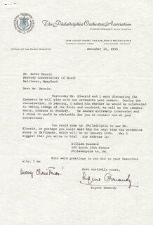 EUGENE ORMANDY - TYPED LETTER SIGNED 12/12/1958