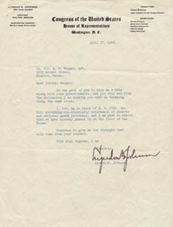 PRESIDENT LYNDON B. JOHNSON - TYPED LETTER SIGNED 04/17/1948