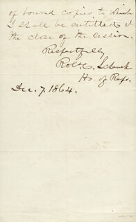 MAJOR GENERAL ROBERT C. SCHENCK - AUTOGRAPH LETTER SIGNED 12/07/1864