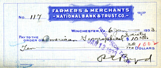 REAR ADMIRAL RICHARD E. BYRD - AUTOGRAPHED SIGNED CHECK 01/06/1933