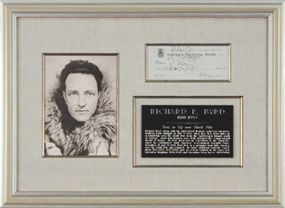 Autographs: REAR ADMIRAL RICHARD E. BYRD - CHECK TRIPLE SIGNED 04/16/1928