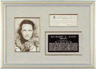 Autographs: REAR ADMIRAL RICHARD E. BYRD - CHECK SIGNED 05/28/1928
