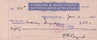 Autographs: REAR ADMIRAL RICHARD E. BYRD - CHECK SIGNED 01/02/1931