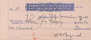 REAR ADMIRAL RICHARD E. BYRD - AUTOGRAPHED SIGNED CHECK 11/27/1931 CO-SIGNED BY: CHARLES J.V. MURPHY