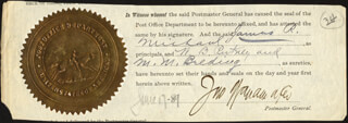 JOHN WANAMAKER - DOCUMENT FRAGMENT SIGNED 06/17/1889