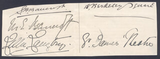 LILLIE THE JERSEY LILY LANGTRY - AUTOGRAPH