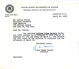 J. EDGAR HOOVER - TYPED LETTER SIGNED 04/21/1955  - HFSID 79747
