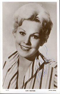 KIM NOVAK - PRINTED PHOTOGRAPH SIGNED IN INK
