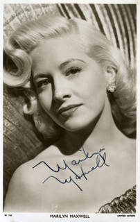 MARILYN MAXWELL - PRINTED PHOTOGRAPH SIGNED IN INK