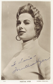 MARTHA HYER - INSCRIBED PICTURE POSTCARD SIGNED