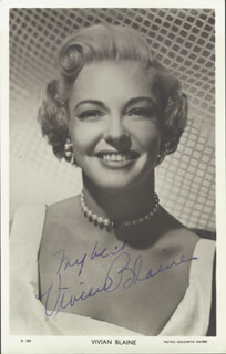 VIVIAN BLAINE - PICTURE POST CARD SIGNED