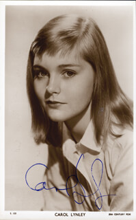 CAROL LYNLEY - AUTOGRAPHED SIGNED PHOTOGRAPH
