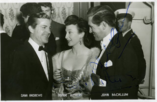 JOHN McCALLUM - PRINTED PHOTOGRAPH SIGNED IN INK CO-SIGNED BY: GOOGIE WITHERS