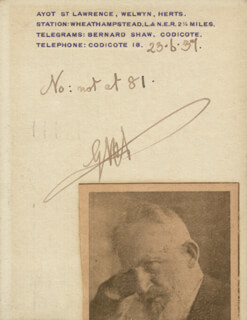 Autographs: GEORGE BERNARD SHAW - AUTOGRAPH NOTE SIGNED 06/23/1937