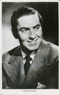 TYRONE POWER - PICTURE POST CARD SIGNED