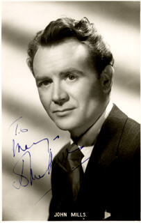 SIR JOHN MILLS - INSCRIBED PICTURE POSTCARD SIGNED