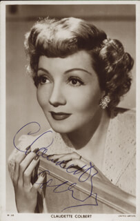 CLAUDETTE COLBERT - PRINTED PHOTOGRAPH SIGNED IN INK