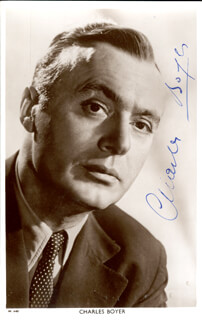 CHARLES BOYER - PICTURE POST CARD SIGNED