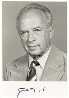 PRIME MINISTER YITZHAK RABIN (ISRAEL) - AUTOGRAPHED SIGNED PHOTOGRAPH