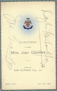 JOAN CRAWFORD - MENU COVER SIGNED CIRCA 1932 CO-SIGNED BY: DOUGLAS FAIRBANKS JR.