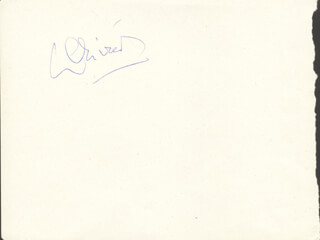LAURENCE OLIVIER - INSCRIBED SIGNATURE CO-SIGNED BY: SAMUEL G. ENGEL