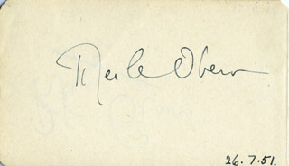 MERLE OBERON - AUTOGRAPH 07/26/1951 CO-SIGNED BY: PETER GRAVES