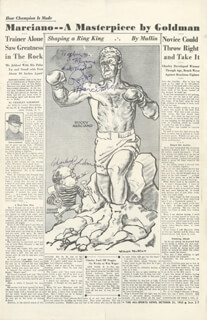 ROCKY MARCIANO - INSCRIBED NEWSPAPER ILLUSTRATION SIGNED CO-SIGNED BY: CHARLEY GOLDMAN