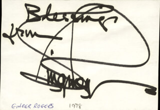 GINGER ROGERS - AUTOGRAPH SENTIMENT SIGNED CIRCA 1978