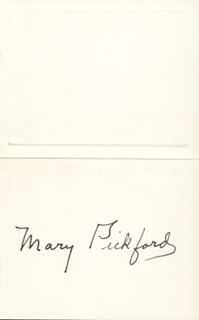 Autographs: MARY PICKFORD - CALLING CARD SIGNED