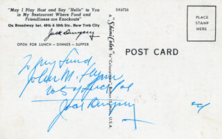 Autographs: JACK DEMPSEY - AUTOGRAPH NOTE ON PICTURE POSTCARD SIGNED