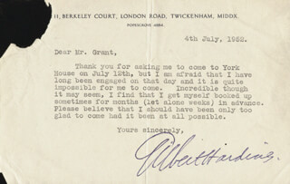 GILBERT HARDING - TYPED LETTER SIGNED 07/04/1952