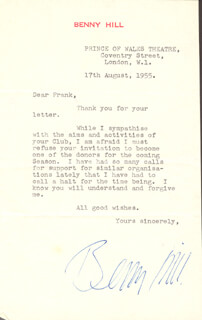 BENNY HILL - TYPED LETTER SIGNED 08/17/1955