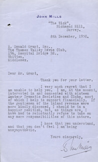 SIR JOHN MILLS - TYPED LETTER SIGNED 12/08/1950