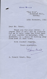 SIR JOHN MILLS - TYPED LETTER SIGNED 11/10/1952
