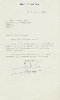 HUGHIE GREEN - TYPED LETTER SIGNED 10/02/1964