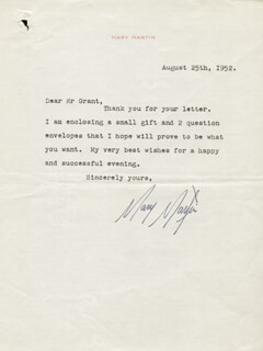 MARY MARTIN - TYPED LETTER SIGNED 08/25/1952