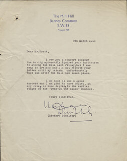 RICHARD DIMBLEBY - TYPED LETTER SIGNED 03/09/1948