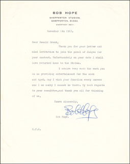 BOB HOPE - TYPED LETTER SIGNED 11/06/1961